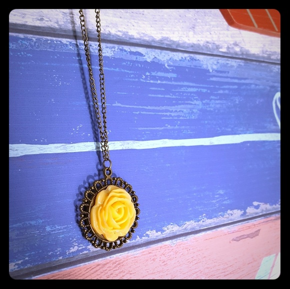 Jewelry vintageinspired yellow rose pendant necklace poshmark vintage inspired yellow rose pendant necklace mozeypictures Image collections